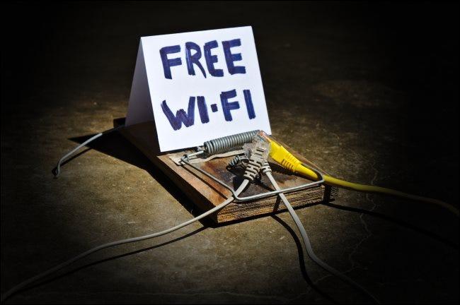 """Une souricière avec un panneau """"Wi-Fi gratuit""""."""