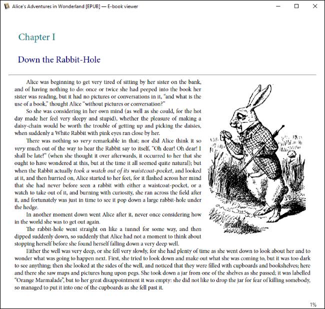 Calibre montrant une copie EPUB d'Alice au pays des merveilles sous Windows 10.