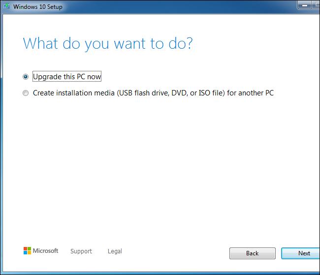 Utilisation de l'outil de configuration de Windows 10 pour mettre à niveau un système Windows 7.
