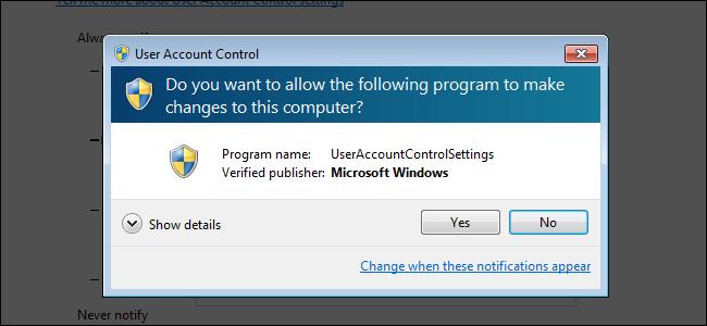 Une invite de sécurité de contrôle de compte d'utilisateur sur Windows 7.