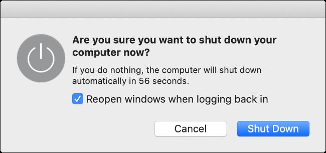 """Le message """"Voulez-vous vraiment arrêter votre ordinateur maintenant?""""  popup sur macOS."""