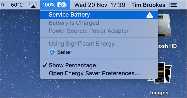 Avertissement de la batterie de service sur MacBook Pro
