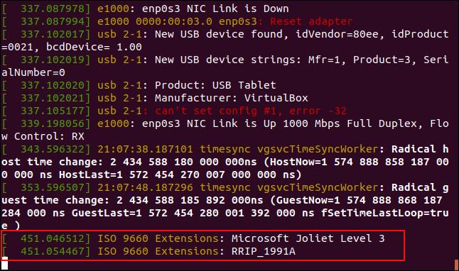 Messages de tampon en anneau dmesg suite au montage d'un disque CD-ROM