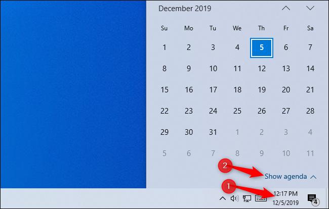 Affichage de l'agenda dans la fenêtre contextuelle de l'horloge de Windows 10.