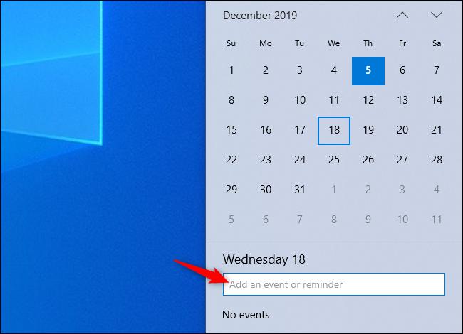 Ajout d'un événement à votre calendrier à partir du panneau de l'horloge de la barre des tâches Windows 10.