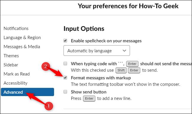 Activation du formatage du balisage et désactivation de la nouvelle barre d'outils de l'éditeur dans Slack