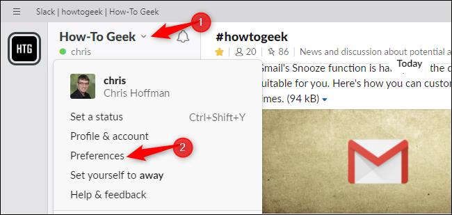 Ouverture des préférences dans Slack