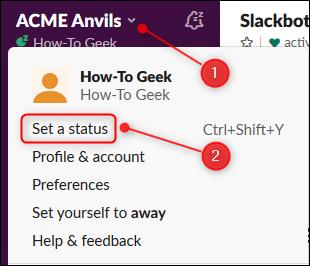 Cliquez sur la flèche pour ouvrir le menu principal, puis cliquez sur «Définir un statut».