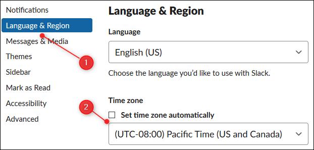 """Cliquez sur """"Langue et région"""", puis sur le menu déroulant et sélectionnez le fuseau horaire."""