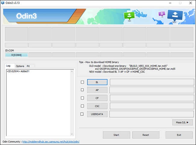 L'interface Odin pour flasher le firmware Samsung Android