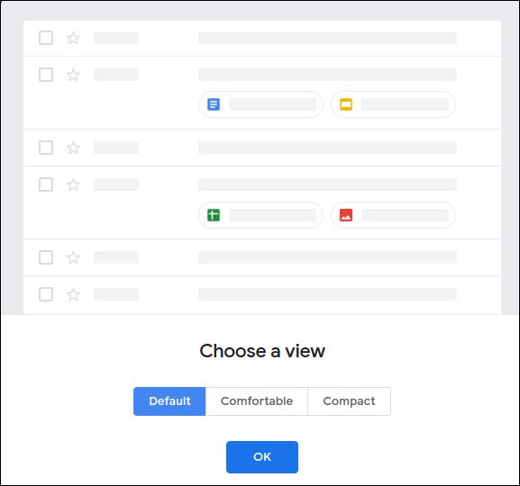"""Le menu """"Choisir une vue"""" dans Gmail."""