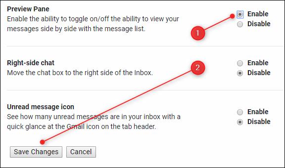 """Cliquez ou appuyez sur """"Activer"""" dans la section """"Volet de prévisualisation"""", puis cliquez ou appuyez sur """"Enregistrer les modifications""""."""