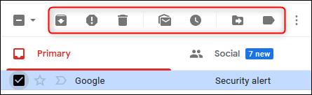 Les icônes d'action par défaut dans Gmail.