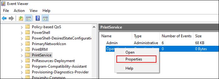 Dans la catégorie PrintServices, cliquez avec le bouton droit sur le paramètre Opérationnel, puis cliquez sur Propriétés