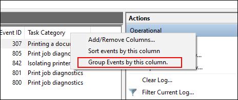 Dans la liste des journaux de l'Observateur d'événements, cliquez avec le bouton droit sur Catégorie de tâches, puis cliquez sur Regrouper les événements par cette catégorie