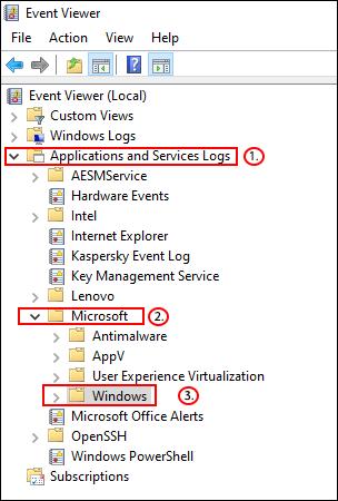 Dans l'Observateur d'événements, cliquez sur Journaux des applications et des services> Microsoft> Windows.» width=»304″ height=»450″ onload=»pagespeed.lazyLoadImages.loadIfVisibleAndMaybeBeacon(this);» onerror=»this.onerror=null;pagespeed.lazyLoadImages.loadIfVisibleAndMaybeBeacon(this);»></p> <!-- WP QUADS Content Ad Plugin v. 2.0.31 --> <div class=