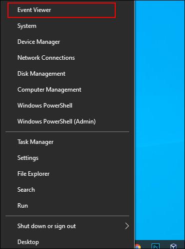 Cliquez avec le bouton droit sur le bouton du menu Démarrer de Windows et cliquez sur Observateur d'événements