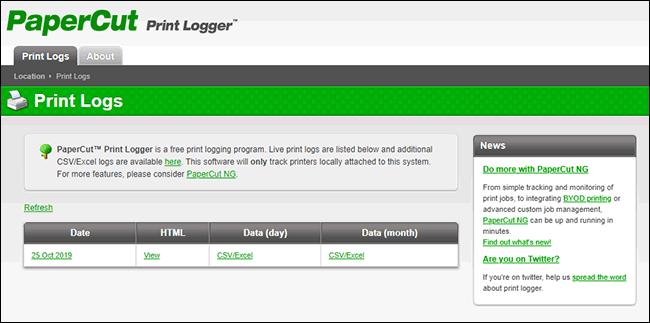 Un exemple de la page d'administration de PaperCut