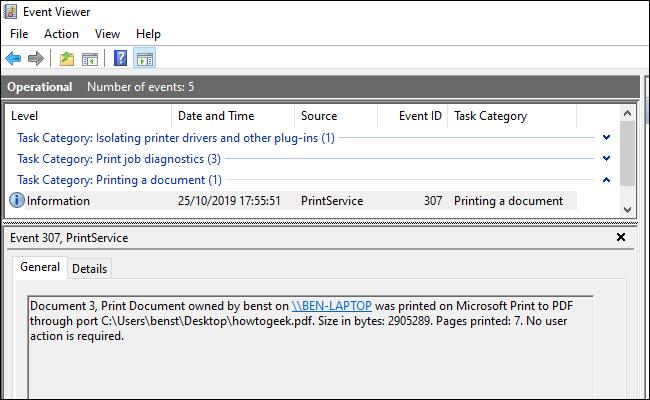 Une liste de documents imprimés dans l'Observateur d'événements, séparés par catégories