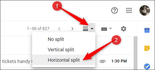 Cliquez sur la nouvelle icône qui apparaît dans votre boîte de réception et choisissez la division verticale ou horizontale.