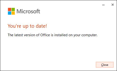 """Le """"Vous êtes à jour"""" message confirmant que Microsoft Office a mis à jour son logiciel avec succès."""