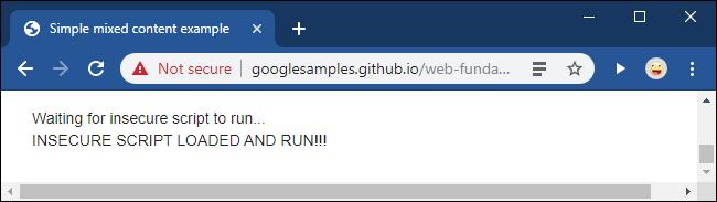 Un message Not Secure après le déblocage d'un script de contenu mixte dans Google Chrome.