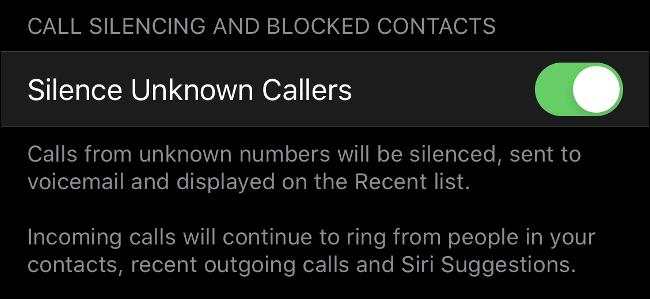 Silence des appelants inconnus dans iOS 13