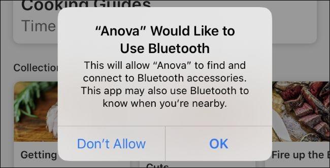 Message de demande d'autorisation Bluetooth générique de l'application Anova sur iOS 13.