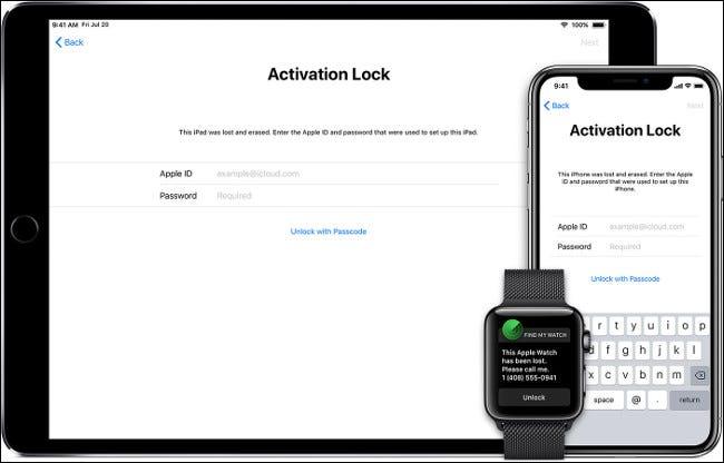 L'écran de verrouillage d'activation sur un iPhone, un iPad et une Apple Watch.