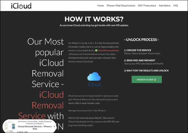 Le site Web du service de suppression iCloud.