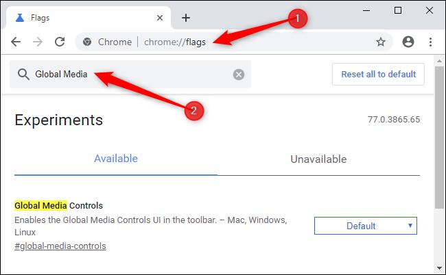 Activation des contrôles multimédias mondiaux dans Google Chrome.