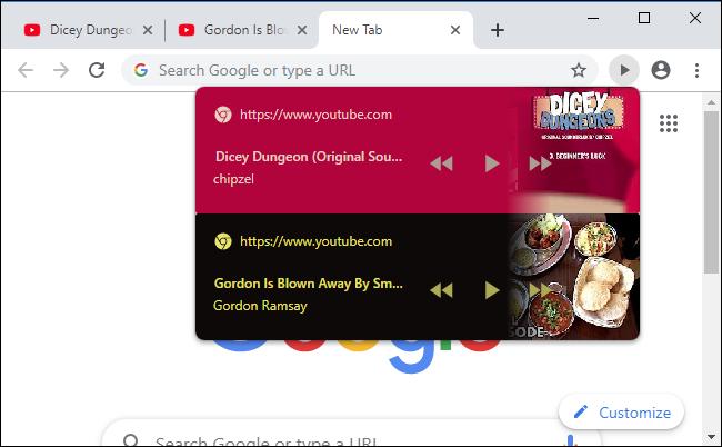 Plusieurs sites Web affichant des commandes de lecture sur la barre d'outils du navigateur Chrome.