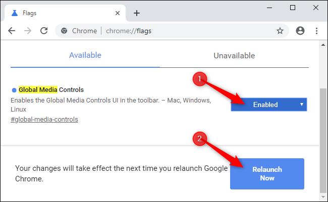 Relancer Chrome après avoir activé un indicateur.