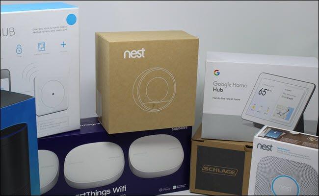 Un Echo, Wink Hub, Google Nest, Smarthings Hub, Nest Hub, Schalge Lock et Nest Protect.