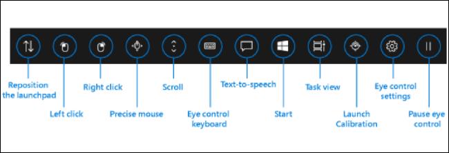 Interface de contrôle oculaire dans Windows 10