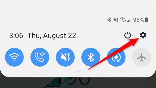 Icône des paramètres de l'ombre de notification Samsung Galaxy Note 10 Plus