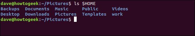 liste du répertoire personnel dans la fenêtre du terminal