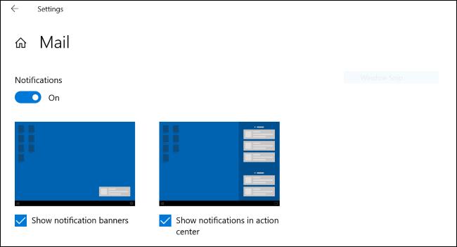 Graphiques de démonstration de notification sur Windows 10
