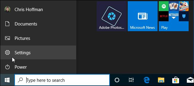 Barre de navigation du menu Démarrer dans Windows 10 19H2.