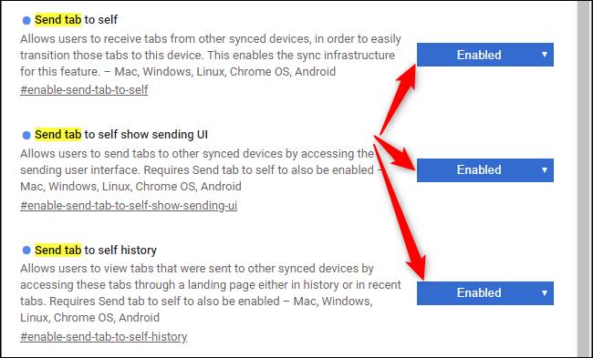 Activation de l'onglet Envoyer pour les auto-indicateurs dans Google Chrome