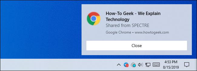Notification pour un onglet partagé dans Google Chrome sous Windows 10