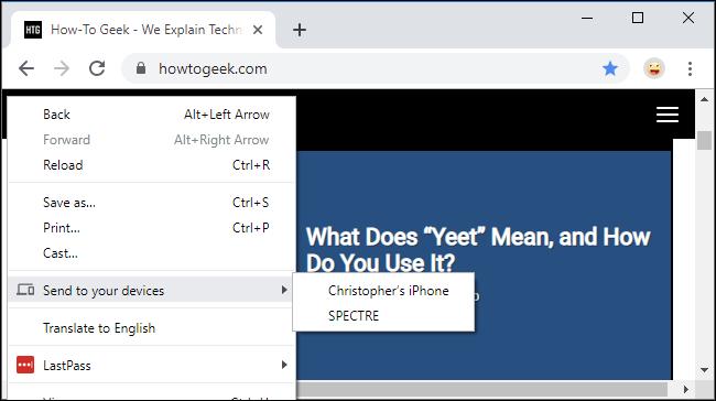 """Le menu """"Envoyer vers vos appareils"""" dans Google Chrome"""