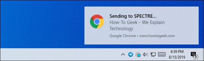 Une notification de bureau Windows pour envoyer un onglet Chrome à un autre appareil