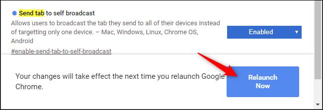 Relancer Chrome après avoir activé un indicateur