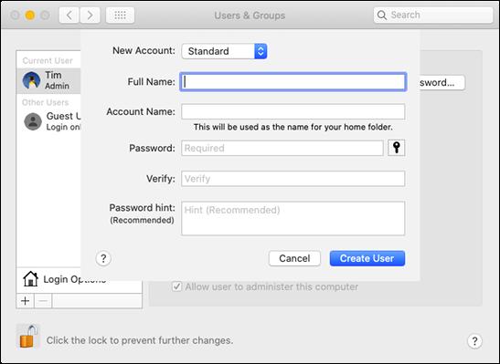 """Le formulaire """"Utilisateurs et groupes"""" dans """"Préférences Système"""" sur un Mac."""