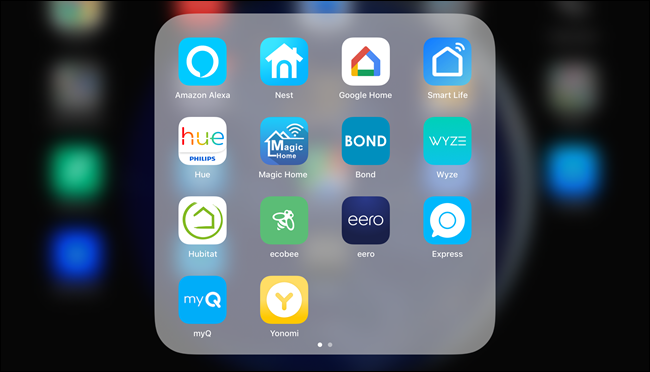 Un dossier iOS contenant 14 applications Smarthome.