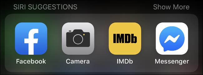 Suggestions Siri dans iOS.