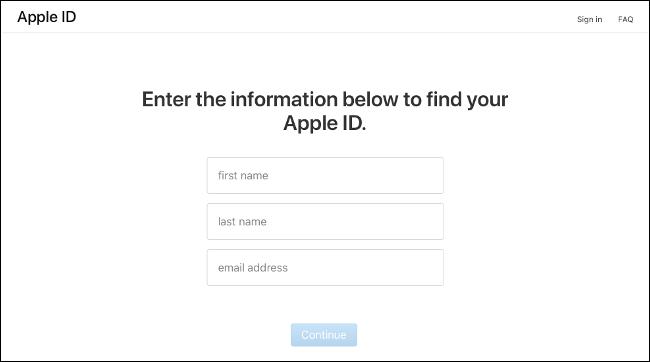 La page d'entrée sur iforgot.apple.com.