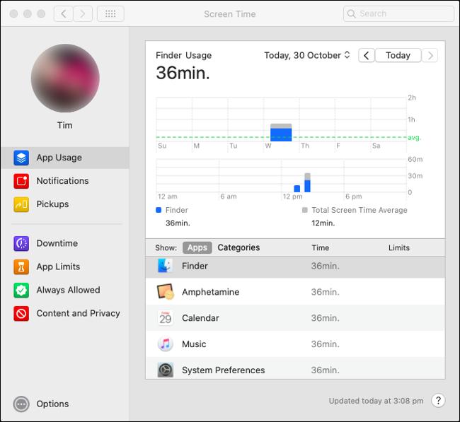 """Statistiques """"Utilisation des applications"""" de Screen Time dans macOS Catalina."""
