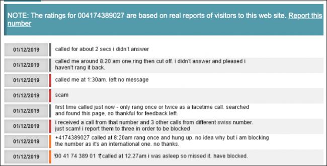 Commentaires sur un numéro de téléphone frauduleux trouvé via un moteur de recherche.